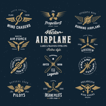 Vintage Vector Airplane Labels Set with Retro Typography. Shabby Texture on Blue Background. Vettoriali