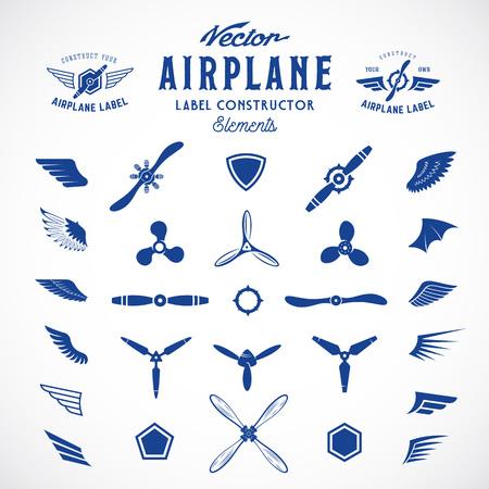piloto: Resumen del aeroplano del vector etiquetas o logotipos Elementos de construcción. Aislado. Vectores