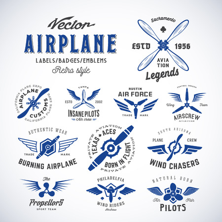 propellers: Vintage Vector Airplane Labels Set with Retro Typography. Isolated.