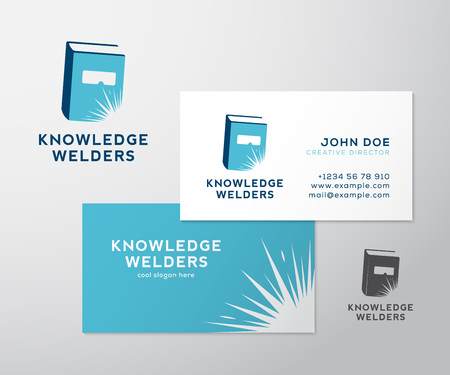knowledge business: Knowledge Welders Education Abstract Vector and Business Card Template or Mockup. Isolated with Realistic Soft Shadows.