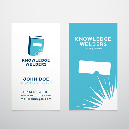 knowledge business: Knowledge Welders Education Abstract Vector Business Card Template or Mockup. Isolated with Realistic Soft Shadows.
