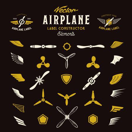 抽象的なベクトル飛行機ラベルやロゴ建設の要素。暗い背景。  イラスト・ベクター素材