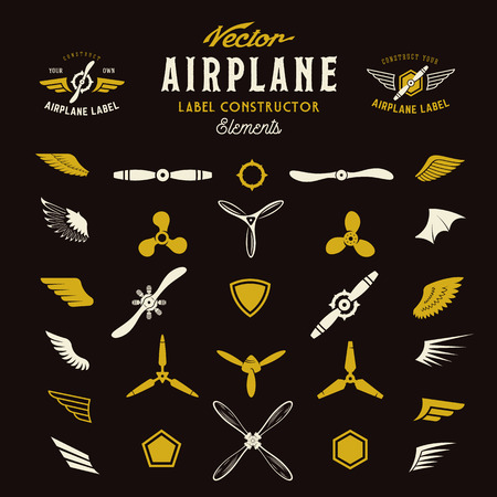 Abstract Vector Airplane Labels or Logos Construction Elements. On Dark Background.