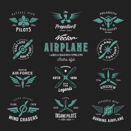 airscrew: Vintage Vector Airplane Labels Set with Retro Typography. Shabby Texture on Dark Background. Illustration