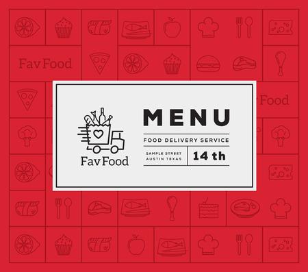 vinho: Comida favorita Entrega Logo e menu abstrato do vetor Cubra com ícone de estilo da linha do padrão. Bom para restaurante ou fast food, etc.