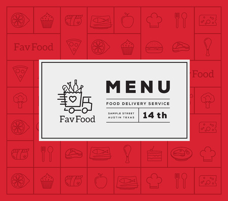food and wine: Favorite Food Delivery Abstract Vector Logo And Menu Cover with Line Style Icon Pattern. Good for Restaurant or Fast Food, etc. Illustration
