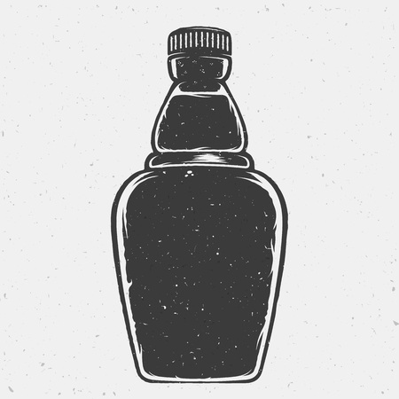 bottle of medicine: Hand Drawn Vector Bottle or a Flask. Good Shape for Motivation Quotes, Posters, Cards, Logos, etc. With Shabby Textures. Isolated.