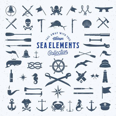 Mar del vector de la vendimia o náutico de símbolo del icono Conjunto de elementos retro para sus etiquetas, escudos y logotipos. Plantilla enorme, con textura lamentable. Aislado.