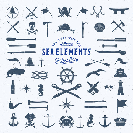 symbols: Vintage Vector Sea or Nautical Icon Symbol Elements Set for Your Retro Labels, Badges and Logos. Huge Template with Shabby Texture. Isolated.