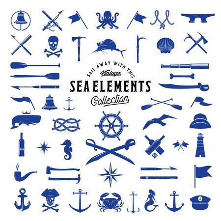 ビンテージ ベクトル海や航海アイコン要素セット レトロなラベル、バッジとロゴの。分離されました。