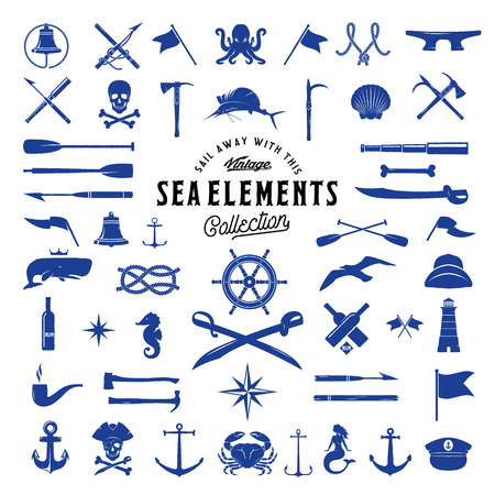 Vintage Vector Sea or Nautical Icon Elements Set for Your Retro Labels, Badges and Logos. Isolated.