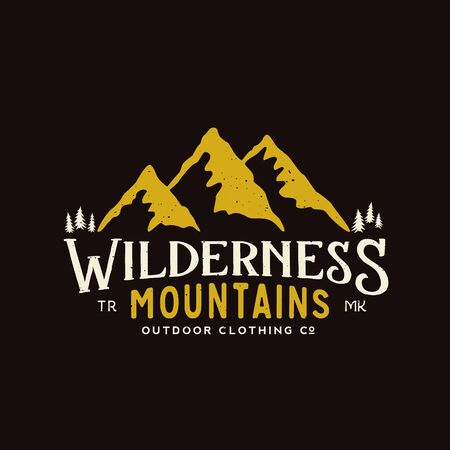 clothing label: Wilderness Mountains Outdoor Clothing Vintage Vector Sign, Label or Logo Template. With Shabby Texture on Dark Background.