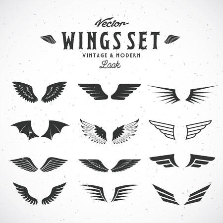 抽象的なベクトル翼の大きなセットは、レトロでモダンな外観。ぼろぼろのテクスチャ。