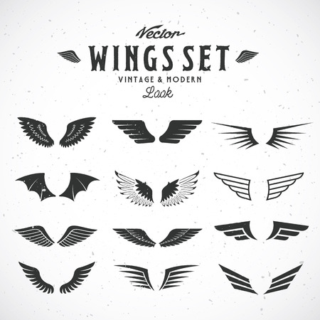 wings icon: Abstract Vector Wings Big Set, Both Retro and Modern Look. With Shabby Texture.