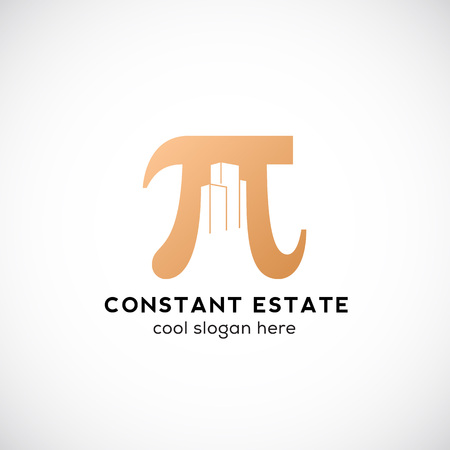 constant: Constant Estate Abstract Icon, Label or Template. Pi Sign with Negative Space Buildings. Isolated.