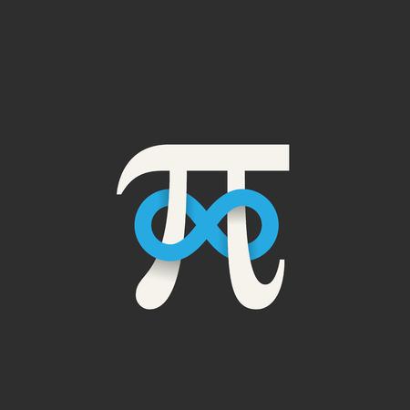 signo infinito: Símbolo del pi con Infinity icono de la muestra abstracta, la etiqueta o la ilustración. Las sombras suaves, gris y azul, colores fondo oscuro. Vectores