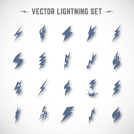 blizzard: Lightning or Blizzard Icon Set in Material Design with Soft Realistic Shadows. Isolated. Illustration
