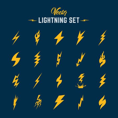 flashes: Unusual Abstract Lightning or Blizzard Flat Style Icon Set. Yellow on Blue Background.