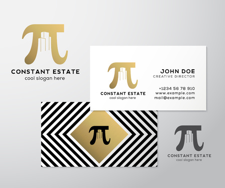 business buildings: Constant Estate Abstract Vector Premium Business Card Template. Pi Sign with Negative Space Buildings as a  . Geometry Background and Gold Foil. Realistic Shadows Mock Up. Isolated.