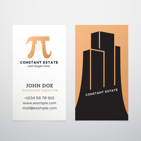 constant: Constant Estate Abstract Vector Business Card Template. Pi Sign with Negative Space Buildings