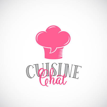 fine cuisine: Cuisine Chat Abstract Vector Template. Chef Hat Symbol Mixed with Talking Cloud or a Speech Bubble Sign. Fine Typography. Isolated.