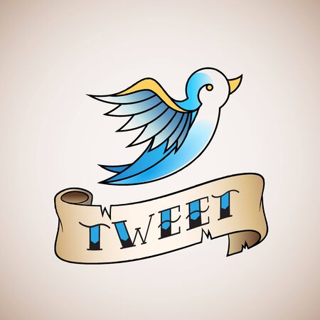 tweet icon: Retro Tattoo Style Abstract Vector Bird Icon with Tweet Banner. Blue on Beige Background.
