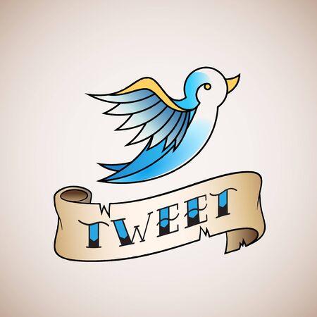 tweet: Retro Tattoo Style Abstract Vector Bird Icon with Tweet Banner. Blue on Beige Background.
