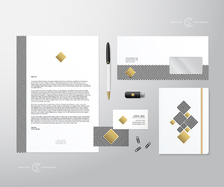 stationary: Creative Geometry and Gold Realistic Vector Stationary Set wih Soft Shadows. Good as Template or Mock Up for Business Identity. Isolated.