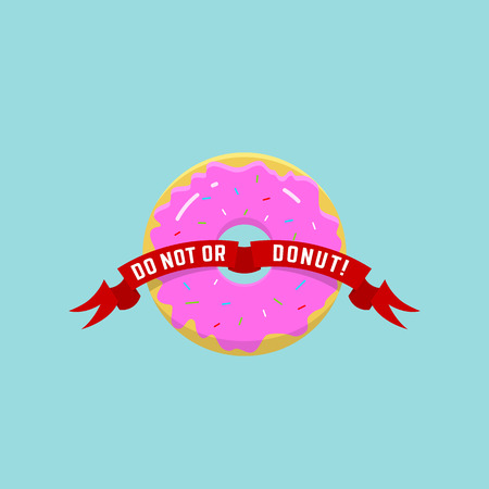 donut style: Abstract Vector Donut Illustration  in Flat Style and Bright Colors. Light Blue Background.