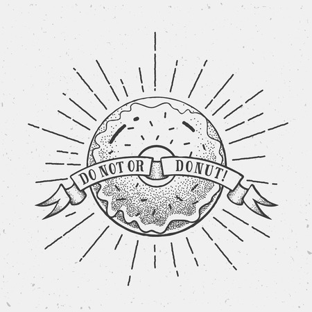 donut style: Abstract Vector Vintage Donut Illustration  Template in Dot Work Style with Shabby Textures and Retro Rays. Isolated. Illustration