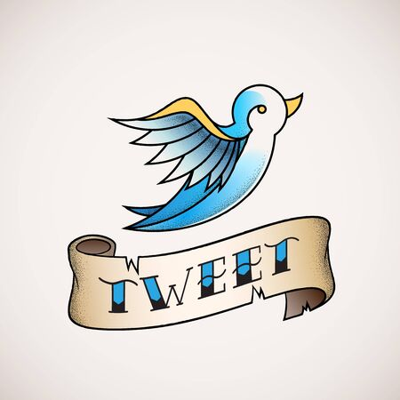 tweet icon: Retro Tattoo Dot Work Style Abstract Vector Bird Icon with Tweet Banner. Blue on Beige Background.