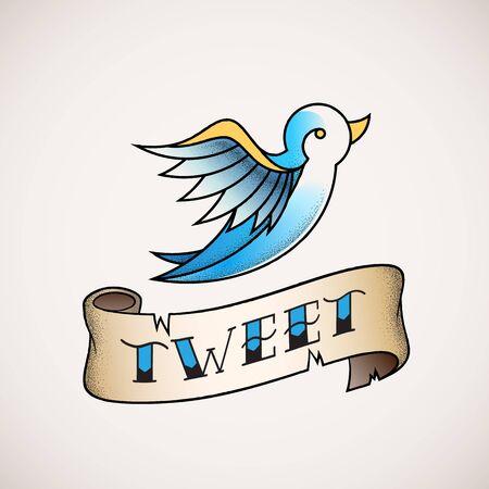 tweet: Retro Tattoo Dot Work Style Abstract Vector Bird Icon with Tweet Banner. Blue on Beige Background.