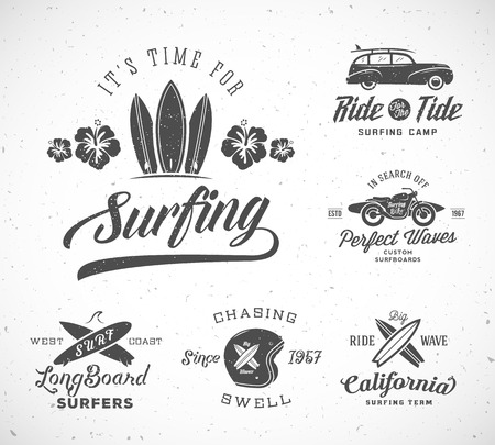 malibu: Vector Retro Style Surfing Labels,  Templates or T-shirt Graphic Design Featuring Surfboards, Surf Woodie Car, Motorcycle Silhouette, Helmet and Flowers. Good for Posters, Cards, etc. With Shabby Textures. Isolated.