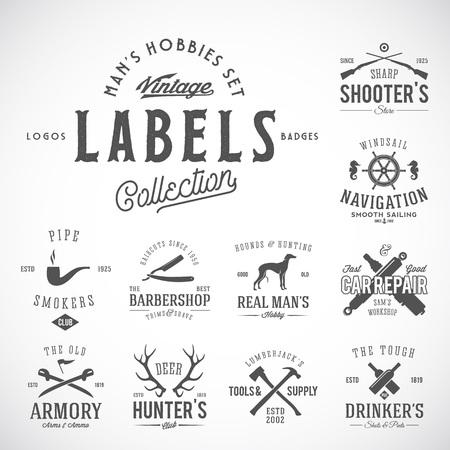 Set van Vintage pictogrammen, Labels Templates Met Retro Typografie voor Mens Hobby Zoals Yachting, Jagen, Armen, Dog Breeding, Garage, enz. Geïsoleerd. Vector Illustratie