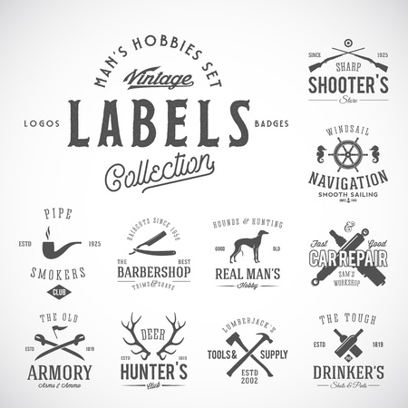 Set of Vintage Icons, Labels   Templates With Retro Typography for Mens Hobbies Such as Yachting, Hunting, Arms, Dog Breeding, Car Repair, etc. Isolated. Illustration