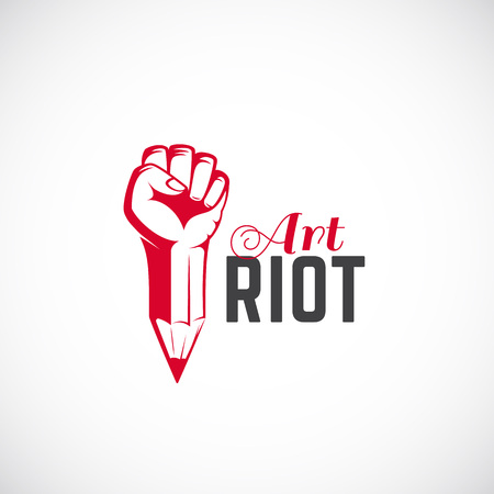 riot: Art Riot Abstract Vector Sign, Symbol, Icon  Template. Red Rebel Fist Mixed with a Pencil Concept. Stylized Revolution Hand. Isolated.