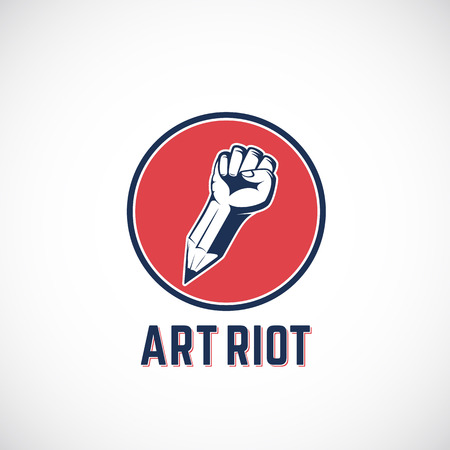 Art Riot Abstract Vector Sign, Symbol, Icon  Template. Rebel Fist Mixed with a Pencil Concept in Red Circle. Stylized Revolution Hand. Isolated.
