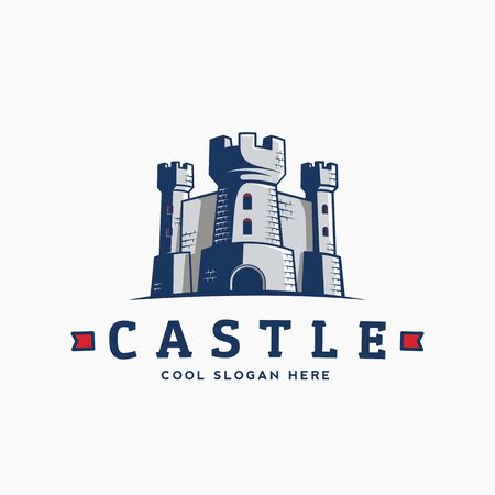 fortress: Abstract Vector Castle Label, Sign   Template. Fortress Symbol. Kingdom Icon. Tower Silhouette with Flags and Typography. Isolated.