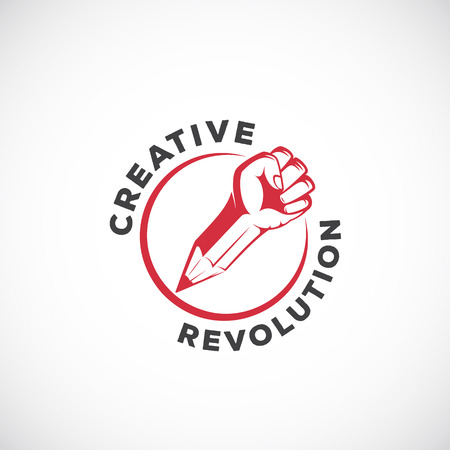 Creative Revolution Abstract Vector Sign, Symbol, Icon   Template. Rebel Fist Mixed with a Pencil Concept in Red Circle. Stylized Riot Hand. Isolated.