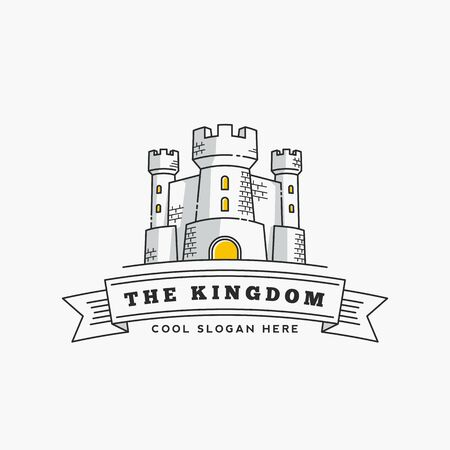 Abstract Vector Kingdom Label, Sign   Template. Fortress Symbol. Castle Icon. Tower Illustration with Flags and Typography in Line Style. Isolated.