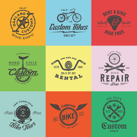 saddle: Retro Custom Bicycle Vector Labels  Templates Set. Bike Symbols, Such as Chains, Wheels, Saddle, Bell, Wrench, etc. With Vintage Typography. On Colorful Squares.