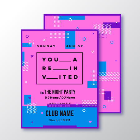 adress: Night Party Club Invitation Card or Poster Template. Modern Abstract Flat Swiss Style Background with Decorative Stripes, Zig-Zags and Typography. Pink, Blue Colors. Isolated. Soft Realistic Shadows.