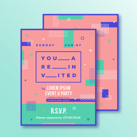 adress: Event, Party Invitation Card Template. Modern Abstract Flat Swiss Style Background with Decorative Stripes, Zig-Zags and Typography. Pink, Mint Colors. Isolated. Soft Realistic Shadows.