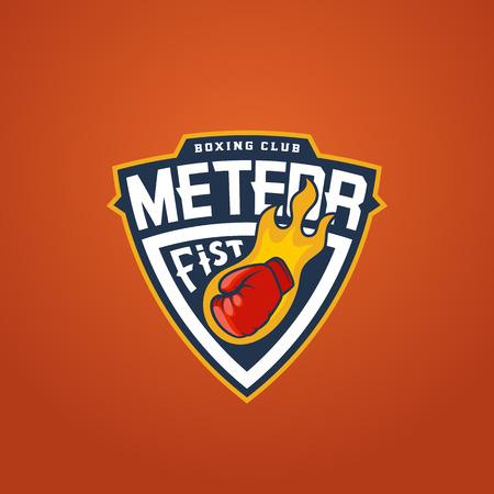 symbol sport: Boxing Club Abstract Vector Sport Emblem Vorlage. Handschuh als Meteor-Zeichen. Schild Kampf-Aufkleber. Stanzen Faust-Symbol. Orange Hintergrund. Illustration