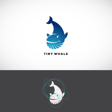 nombre d or: Tiny Whale Abstract Vector  Template. Flat Style Sign, Icon or Symbol Made With Golden Ratio Guides. Isolated. Illustration