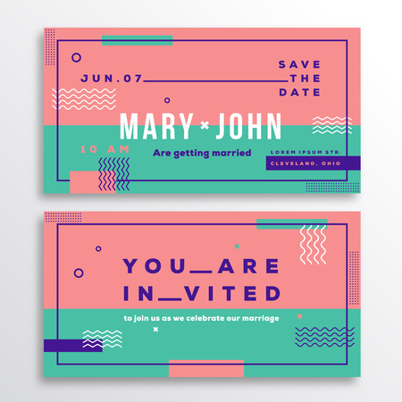adress: Wedding Invitation Card Template. Modern Abstract Flat Swiss Style Background with Decorative Stripes, Zig-Zags and Typography. Pink, Mint Colors. Isolated. Soft Realistic Shadows.