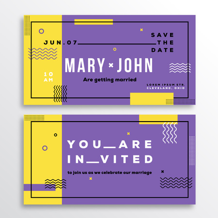 adress: Wedding Invitation Card Template. Modern Abstract Flat Swiss Style Background with Decorative Stripes, Zig-Zags and Typography. Yellow, Violet Colors. Isolated. Soft Realistic Shadows.