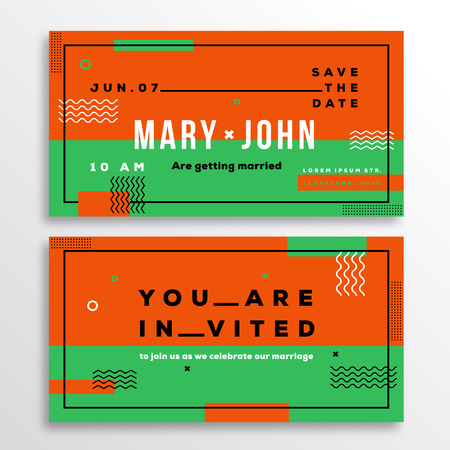 adress: Wedding Invitation Card Template Ticket Shape. Modern Abstract Flat Swiss Style Background with Decorative Stripes, Zig-Zags and Typography. Orange, Green Colors. Isolated. Soft Realistic Shadows.