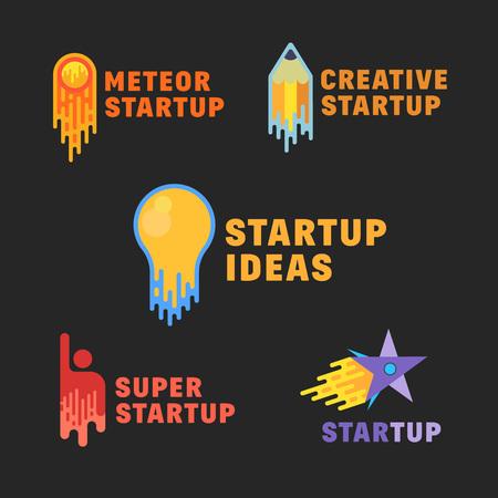 Resumen iconos de inicio, símbolo, signos o conjunto de plantillas de logotipo. Estilo plano sobre fondo oscuro. Bombilla, Pensil, Meteor, Humana y Rocket Star. Logos