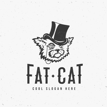 grumpy: Fat Cat Abstract Vintage Vector Sign, Symbol or  Template with Shabby Textures and Print Effect. Isolated. Illustration